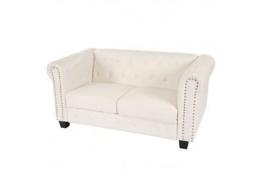 2er Sofa weiss klassisch Vintage Chesterfield Retro Zweisitzer Couch weiß - 1