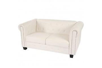 2er Sofa Weiss Klassisch Vintage Chesterfield Retro Zweisitzer Couch