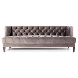 3 Sitzer Sofa VOGUE Vintage Samt Velours Clubsofa Couch Samtvelours (grau) - 1