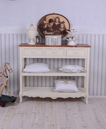 Antike Anrichte, Konsole, Sideboard, Regal, Ablage in Villa-Vintage-Art, aus Holz in der Farbe Weiß, einzigartig schönes Möbelstück - Palazzo Exclusive - 3