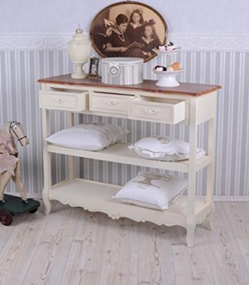 Antike Anrichte, Konsole, Sideboard, Regal, Ablage in Villa-Vintage-Art, aus Holz in der Farbe Weiß, einzigartig schönes Möbelstück - Palazzo Exclusive - 4