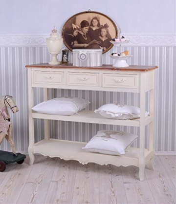 Antike Anrichte, Konsole, Sideboard, Regal, Ablage in Villa-Vintage-Art, aus Holz in der Farbe Weiß, einzigartig schönes Möbelstück - Palazzo Exclusive - 1