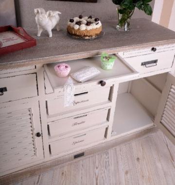 Antike Anrichte, Konsole, Sideboard, Wandschrank, Ablage in Villa-Vintage-Art, aus Holz in der Farbe Weiß, einzigartig schönes Möbelstück - Palazzo Exclusive - 2