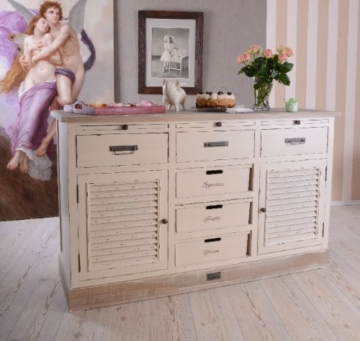 Antike Anrichte, Konsole, Sideboard, Wandschrank, Ablage in Villa-Vintage-Art, aus Holz in der Farbe Weiß, einzigartig schönes Möbelstück - Palazzo Exclusive - 3