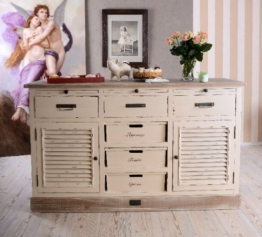 Antike Anrichte, Konsole, Sideboard, Wandschrank, Ablage in Villa-Vintage-Art, aus Holz in der Farbe Weiß, einzigartig schönes Möbelstück - Palazzo Exclusive - 1