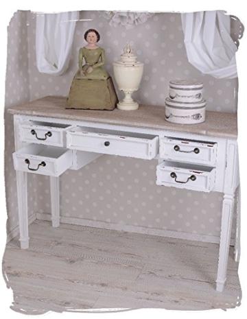 Antiker Schreibtisch, Computertisch, Schreibmöbel, Sekretär, Arbeitstisch, Tisch aus Holz im angesagten Vintage-Stil in Weiß - Palazzo Exclusive - 3
