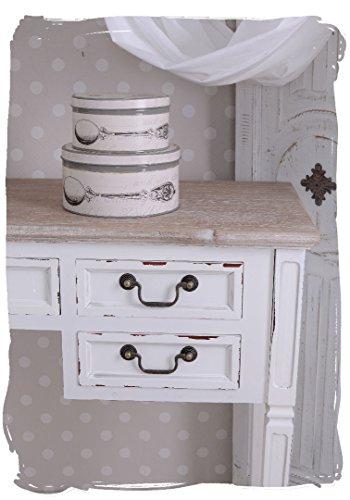 Antiker Schreibtisch, Computertisch, Schreibmöbel, Sekretär, Arbeitstisch, Tisch aus Holz im angesagten Vintage-Stil in Weiß - Palazzo Exclusive - 4