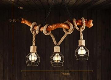 Atmko®Hängeleuchte Kronleuchter Hanf Seile Kronleuchter Anhänger Industrial Vintage Style Schlafzimmer Wohnzimmer Cafe LOFT Kreative Pers5onlichkeit Holz Deckenleuchten No Lampen 220V - 3