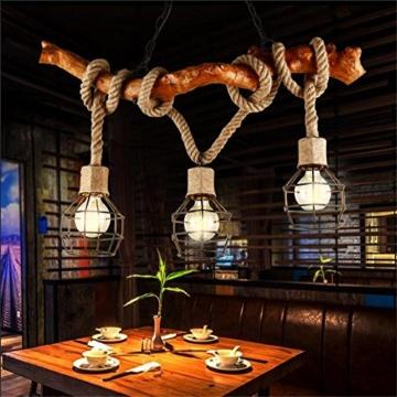 Atmko®Hängeleuchte Kronleuchter Hanf Seile Kronleuchter Anhänger Industrial Vintage  Style Schlafzimmer Wohnzimmer Cafe LOFT Kreative Pers5onlichkeit Holz ...