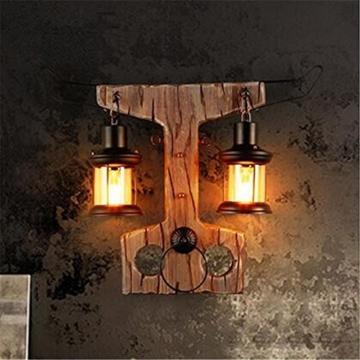 atmko wandlampe wandleuchte wand lampe sconce doppel kopf industrial vintage retro holz metall. Black Bedroom Furniture Sets. Home Design Ideas