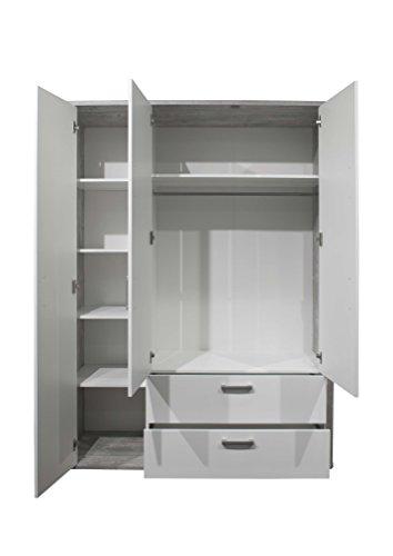 AVANTI TRENDSTORE - Freddo - Kleiderschrank, 3 Türen und 2 Schubkästen in vintage Wood grau / weiß Lack Dekor, ca. 138x189x51 cm - 2