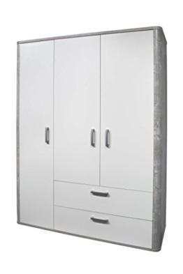AVANTI TRENDSTORE - Freddo - Kleiderschrank, 3 Türen und 2 Schubkästen in vintage Wood grau / weiß Lack Dekor, ca. 138x189x51 cm - 1