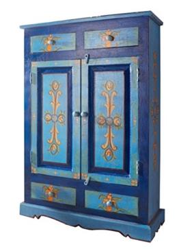 Bauernschrank handbemalt blau Schrank Massiv Palisander Landhaus Kleiderschrank - 1