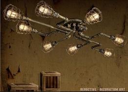 BAYCHEER Deckleuchte Industrielampe 6 Lampenfassung 65cm Retro Kupfer Semi Flush Deckenlampe Kronleuchte Pendellampe (8 Lampen) - 1