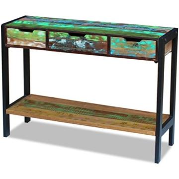 Beistelltisch Highboard Sideboard Konsolentisch 3 Schubladen Massivholz Vintage - 2
