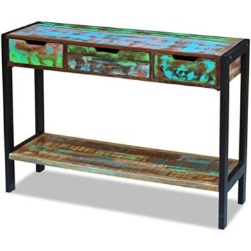 Beistelltisch Highboard Sideboard Konsolentisch 3 Schubladen Massivholz Vintage - 3