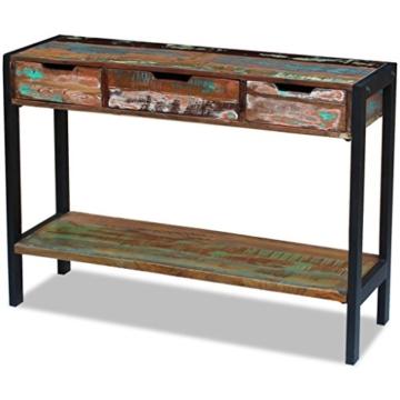 Beistelltisch Highboard Sideboard Konsolentisch 3 Schubladen Massivholz Vintage - 4