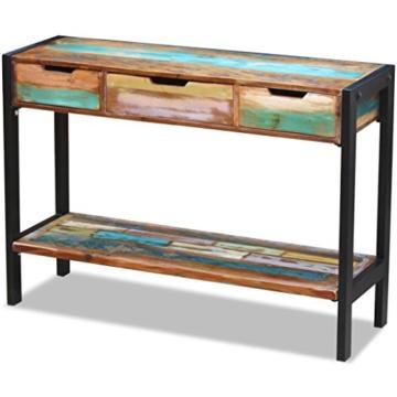 Beistelltisch Highboard Sideboard Konsolentisch 3 Schubladen Massivholz Vintage - 1