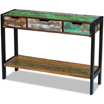 Beistelltisch Highboard Sideboard Konsolentisch 3 Schubladen Massivholz Vintage - 5