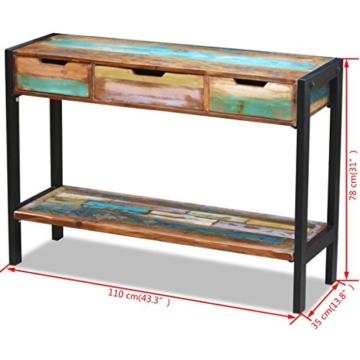Beistelltisch Highboard Sideboard Konsolentisch 3 Schubladen Massivholz Vintage - 8