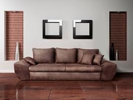 Big Sofa, braun, mit Schlaffunktion, Bettkasten, Vintage Look, Microfaser | XXL Couch | Großes Relexsofa | Megasofa  - 1