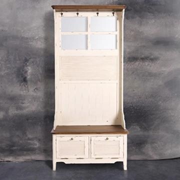 BUTLERS CABOTT COVE Garderobe mit Spiegel und Sitzbank - Garderobenschrank mit 4 Haken - Vintage-Look - Paulowniaholz - 2