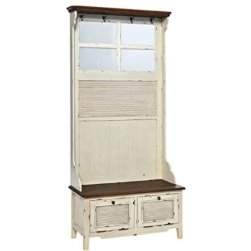 BUTLERS CABOTT COVE Garderobe mit Spiegel und Sitzbank - Garderobenschrank mit 4 Haken - Vintage-Look - Paulowniaholz - 3