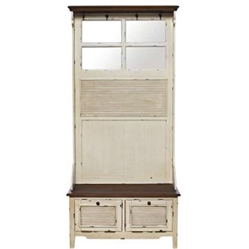 BUTLERS CABOTT COVE Garderobe mit Spiegel und Sitzbank - Garderobenschrank mit 4 Haken - Vintage-Look - Paulowniaholz - 1