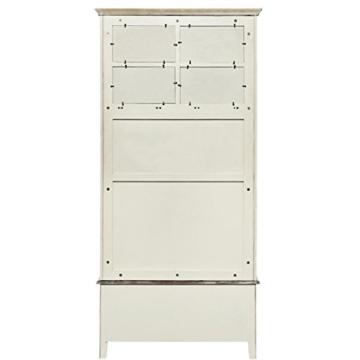 BUTLERS CABOTT COVE Garderobe mit Spiegel und Sitzbank - Garderobenschrank mit 4 Haken - Vintage-Look - Paulowniaholz - 5