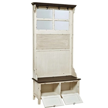 BUTLERS CABOTT COVE Garderobe mit Spiegel und Sitzbank - Garderobenschrank mit 4 Haken - Vintage-Look - Paulowniaholz - 6