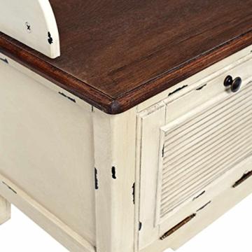 BUTLERS CABOTT COVE Garderobe mit Spiegel und Sitzbank - Garderobenschrank mit 4 Haken - Vintage-Look - Paulowniaholz - 7