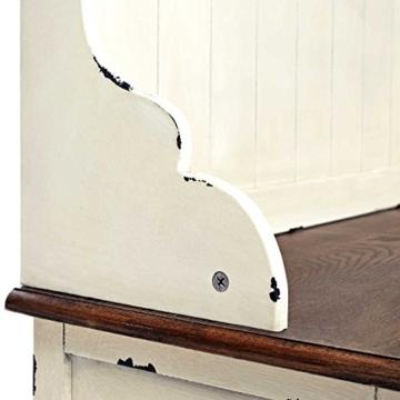 BUTLERS CABOTT COVE Garderobe mit Spiegel und Sitzbank - Garderobenschrank mit 4 Haken - Vintage-Look - Paulowniaholz - 8