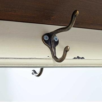 BUTLERS CABOTT COVE Garderobe mit Spiegel und Sitzbank - Garderobenschrank mit 4 Haken - Vintage-Look - Paulowniaholz - 9