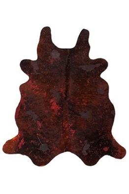 Casa Padrino Designer Kuhfell Teppich Vintage Look Rot - Handgefertigt - Möbel Fell Teppich, Grösse:190 x 220 cm - 1