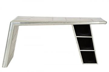 Casa Padrino Luxus Designer Schreibtisch Flieger Desk Aluminium Flugzeug  Flügel Art Deco Vintage Mod2
