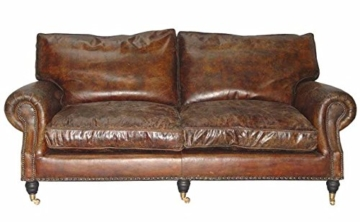 Casa Padrino Luxus Echt Leder Sofa Vintage Leder 3 Sitzer Cigar Braun Art Deco - 1
