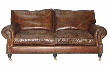 Casa Padrino Luxus Echt Leder Sofa Vintage Leder 3 Sitzer Cigar Braun Art Deco -