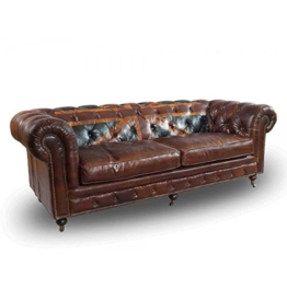 Chesterfield Union Jack - 3-Sitzer Sofa - Leder Vintage Cigar - 1