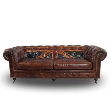 Chesterfield Union Jack - 3-Sitzer Sofa - Leder Vintage Cigar - 2
