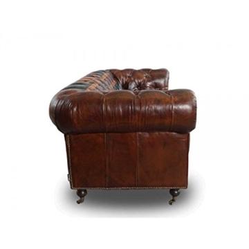 Chesterfield Union Jack - 3-Sitzer Sofa - Leder Vintage Cigar - 3