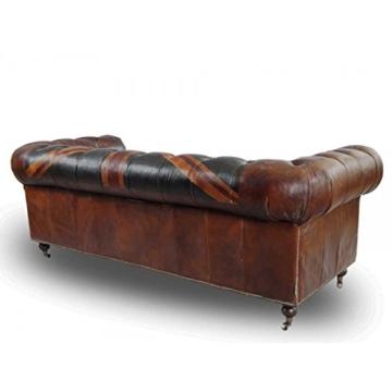 Chesterfield Union Jack - 3-Sitzer Sofa - Leder Vintage Cigar - 4