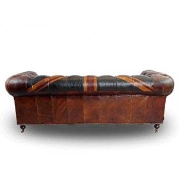 Chesterfield Union Jack - 3-Sitzer Sofa - Leder Vintage Cigar - 5
