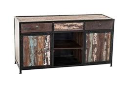 CLP Sideboard SAKRI im Industrie Design, Materialmix aus Holz und Metall, 145x50 cm, Höhe 76 cm Bunt - 1