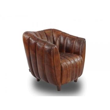 Cocktailsessel Juniper gerippt, Vintage Leder Echtleder Sessel - 1