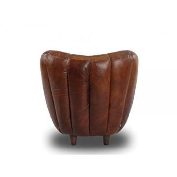 Cocktailsessel Juniper gerippt, Vintage Leder Echtleder Sessel - 4