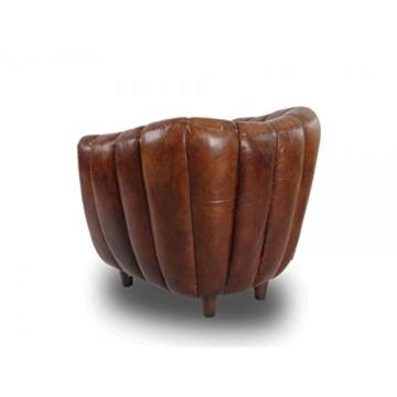 Cocktailsessel Juniper gerippt, Vintage Leder Echtleder Sessel - 5
