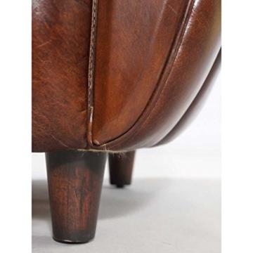 Cocktailsessel Juniper gerippt, Vintage Leder Echtleder Sessel - 7