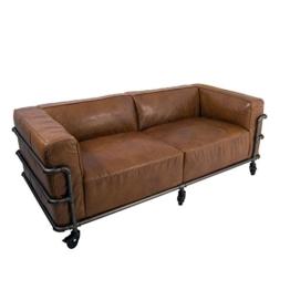 Design Clubsofa Wakefield 2,5-Sitzer Cuba Braun Aluminium-Rohr Sofa Loungesofa Ledersofa - 1