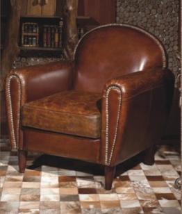 Echtleder Vintage Sessel Ledersessel Braun Antik Design Lounge Clubsessel Sofa Möbel NEU 444 - 1