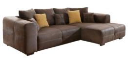 Ecksofa Love Seats / Polster Eck-Couch mit Kissen / In Antik-Leder-Optik mit nussbaumfarbenen Holzfüßen / 285x69x170 (B x H x T) / Braun - 1